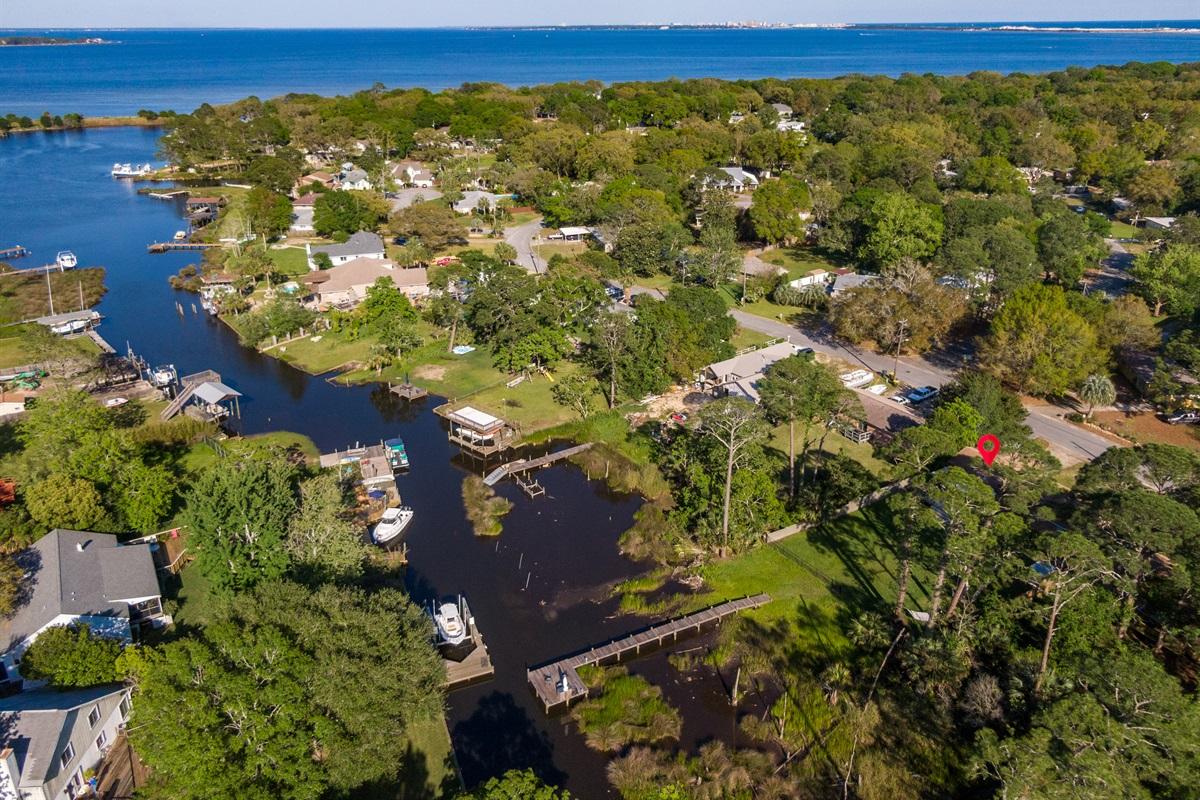 Aerial view of property & waterways
