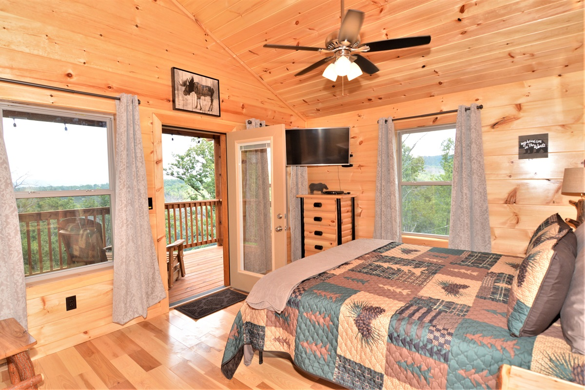 """Upstairs """"king"""" master suite w/ private balcony, TV & views!"""