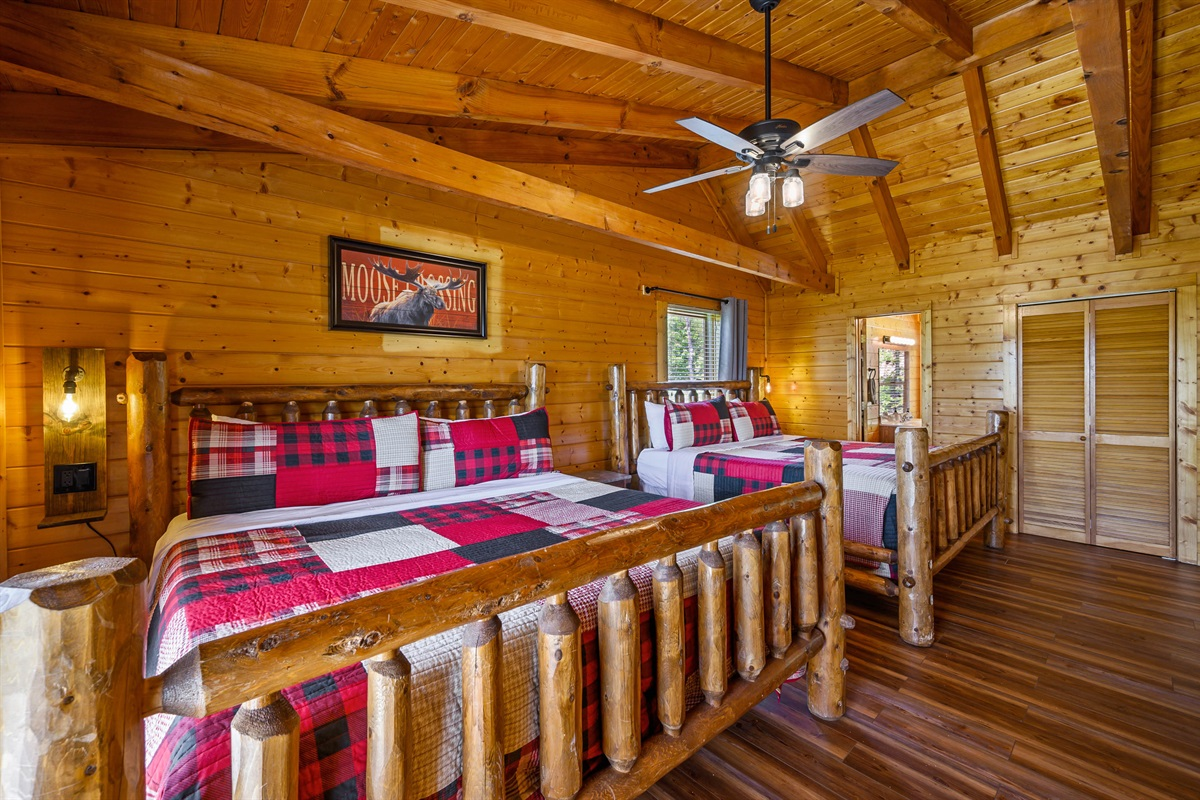 Upstairs Bedroom #2 with 2 King Beds, 50 inch Smart TV, Blackout Curtains, Adjustable Fan, USB Ports for each bed and On-Suite Full Bathroom with tub/shower