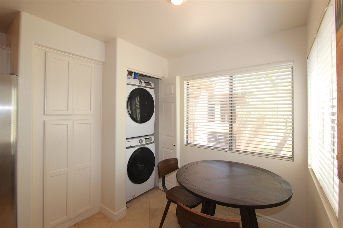 New full size washer and dryer.