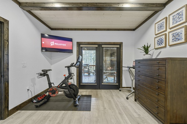Peloton bike and subscription available for use. Toe cages provided