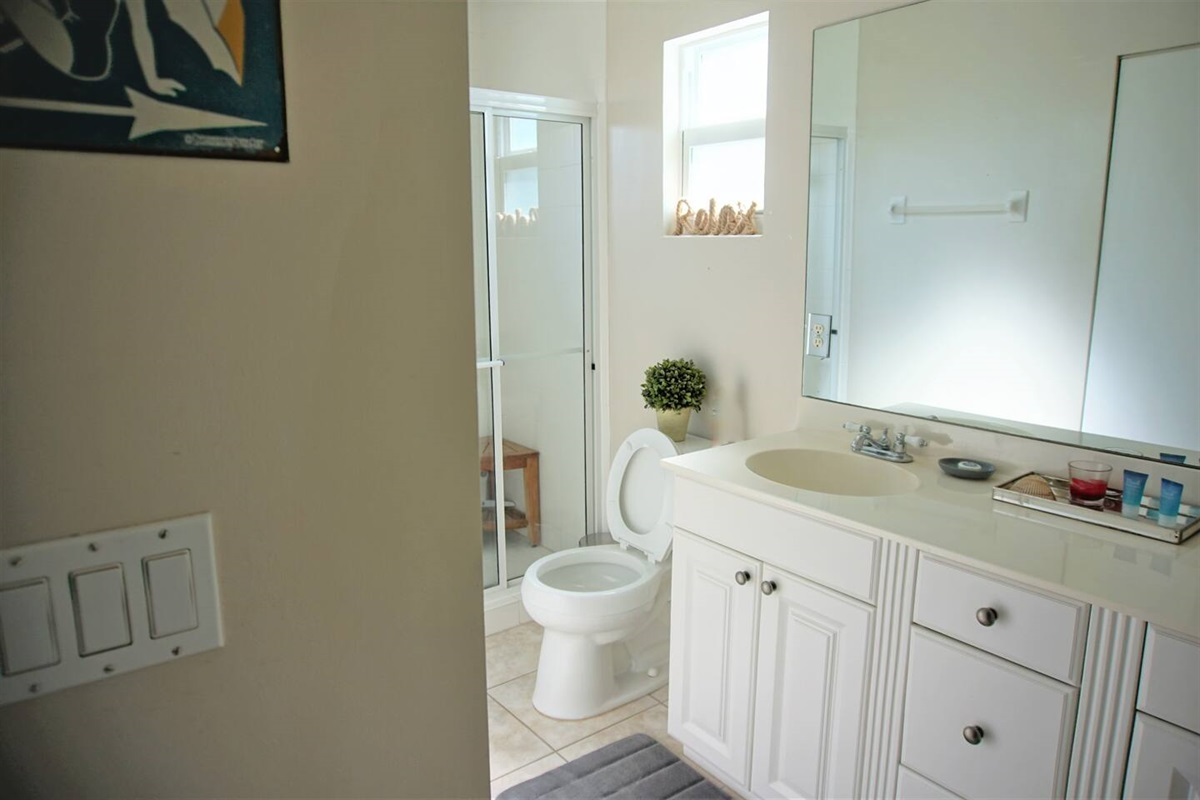The master bathroom has plenty of space for all your toiletries