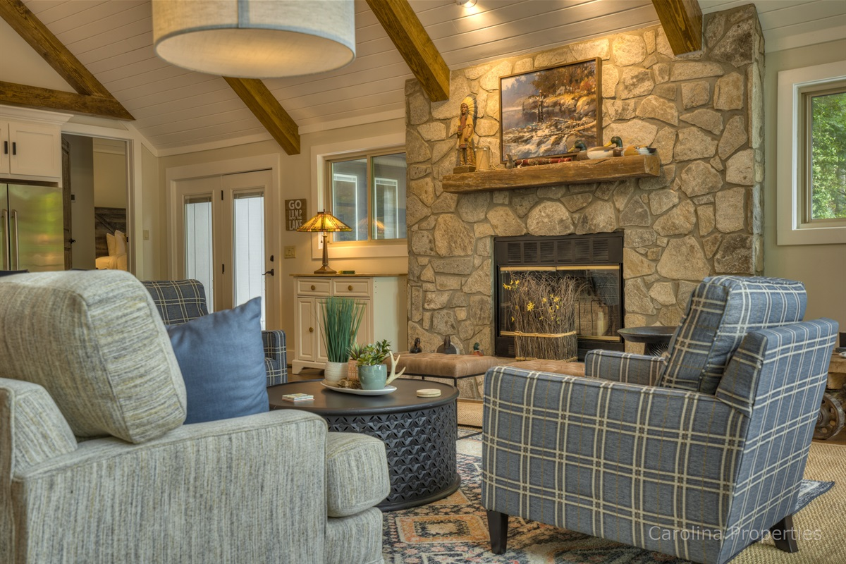 Comfortable seating in the living room of the main house