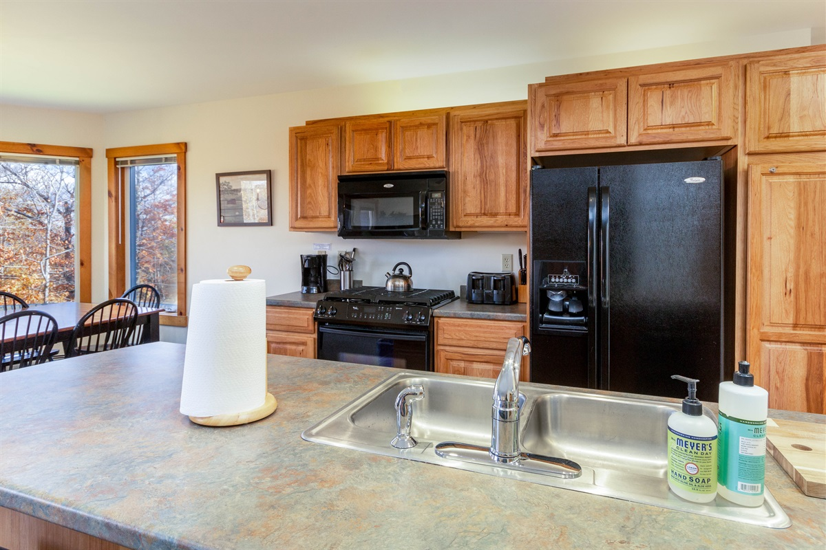 Generous kitchen space, great for cooking family meals or simply preparing a quick breakfast.  All the utensils, plates etc that you need will be there.