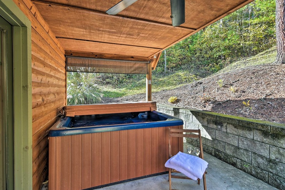 Enjoy a relaxing soak in the private 6-person hot tub!