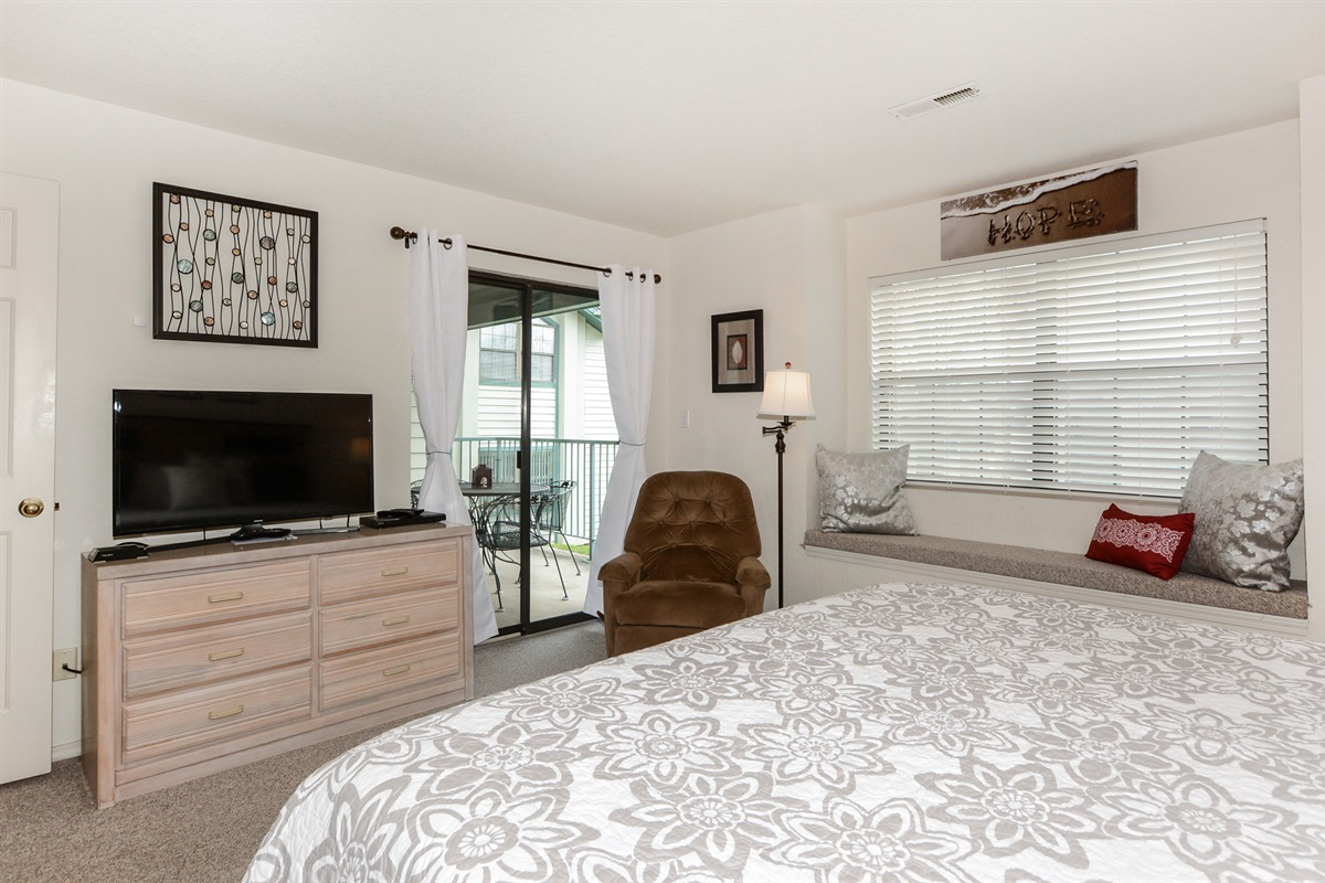 The Master Suite has all the comforts of home, including a Smart TV with Netflix