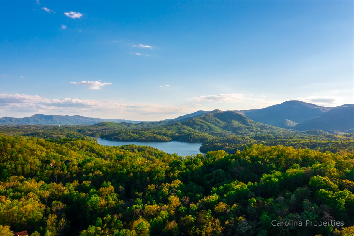 Stunning view of our beautiful Lake Lure area from above tree line