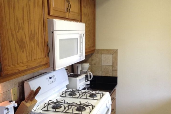 Fully equipped galley kitchen with over the range microwave, coffee maker, toaster and can opener