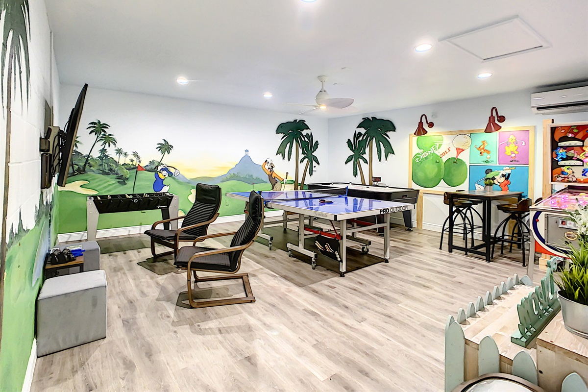 Downstairs Game Room (converted air conditioned garage)