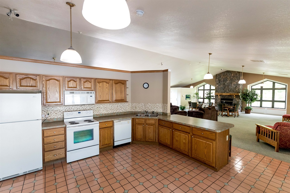 The clubhouse features a kitchen for entertaining