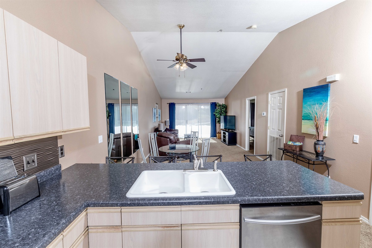 The open floor plan makes it easy to enjoy the company of friends and family!