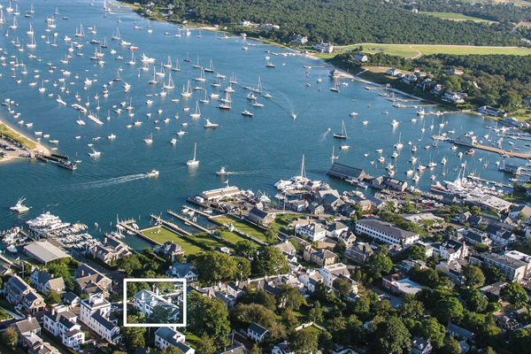 Aerial View of the house and Edgartown Harbor looking South