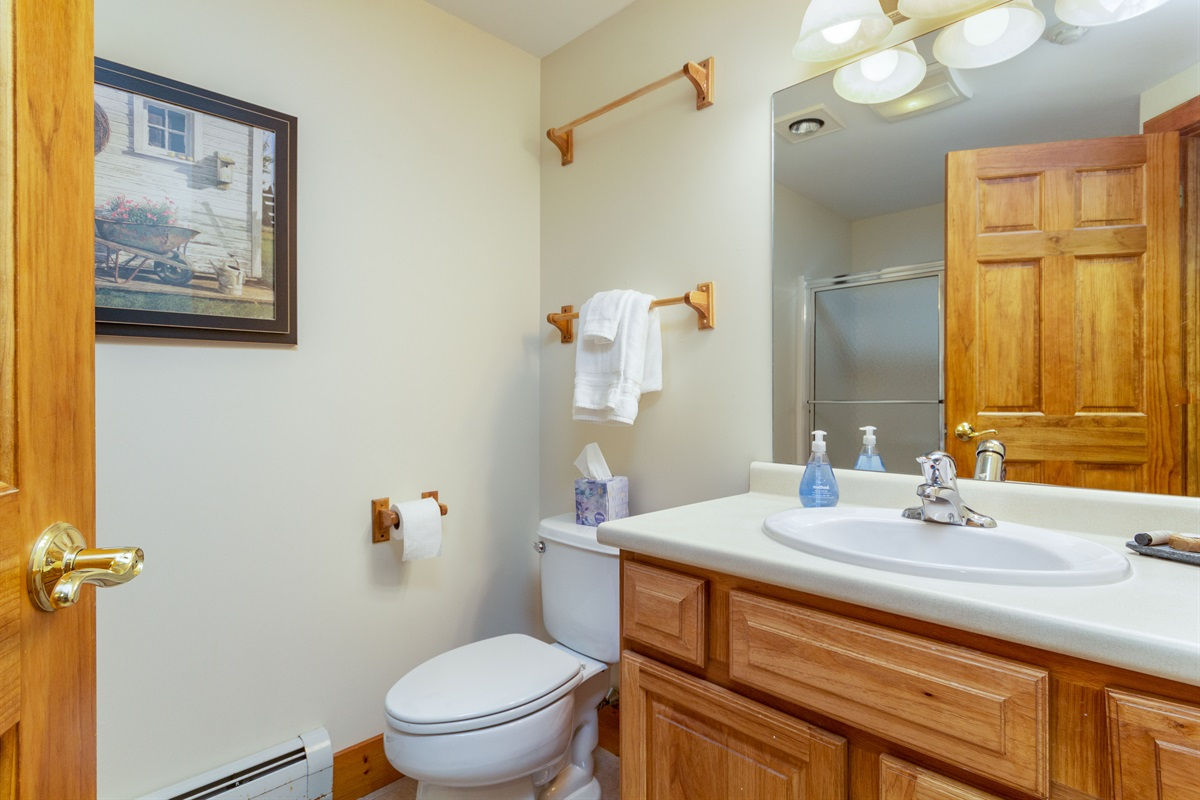 Second bathroom, entrance outside the second bedroom. Shower / tub combo