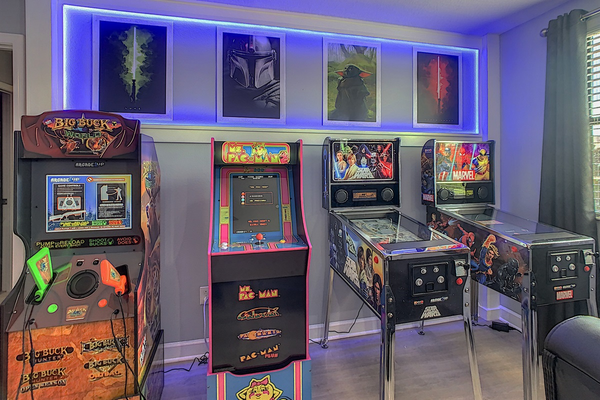 A Total Of 5 Arcade Machines and 2 Pinball Machines