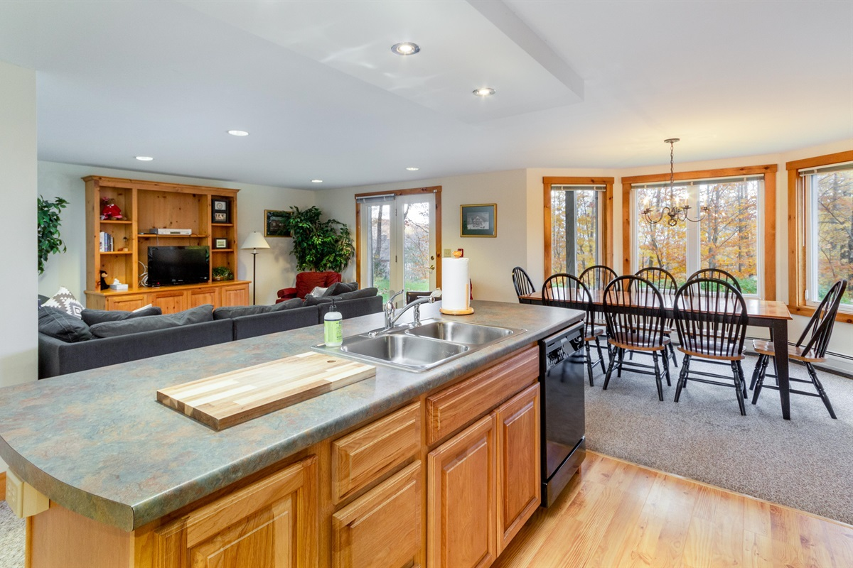Large living, dining, kitchen area. Light and airy.