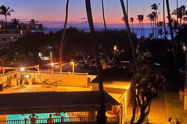 Post-sunset ocean view from lanai.