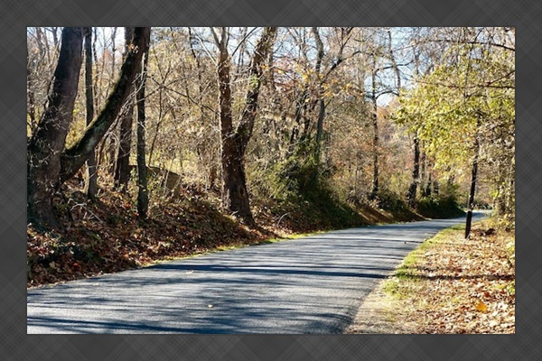 Several-mile-long paved road running along the river (great for bike rides)