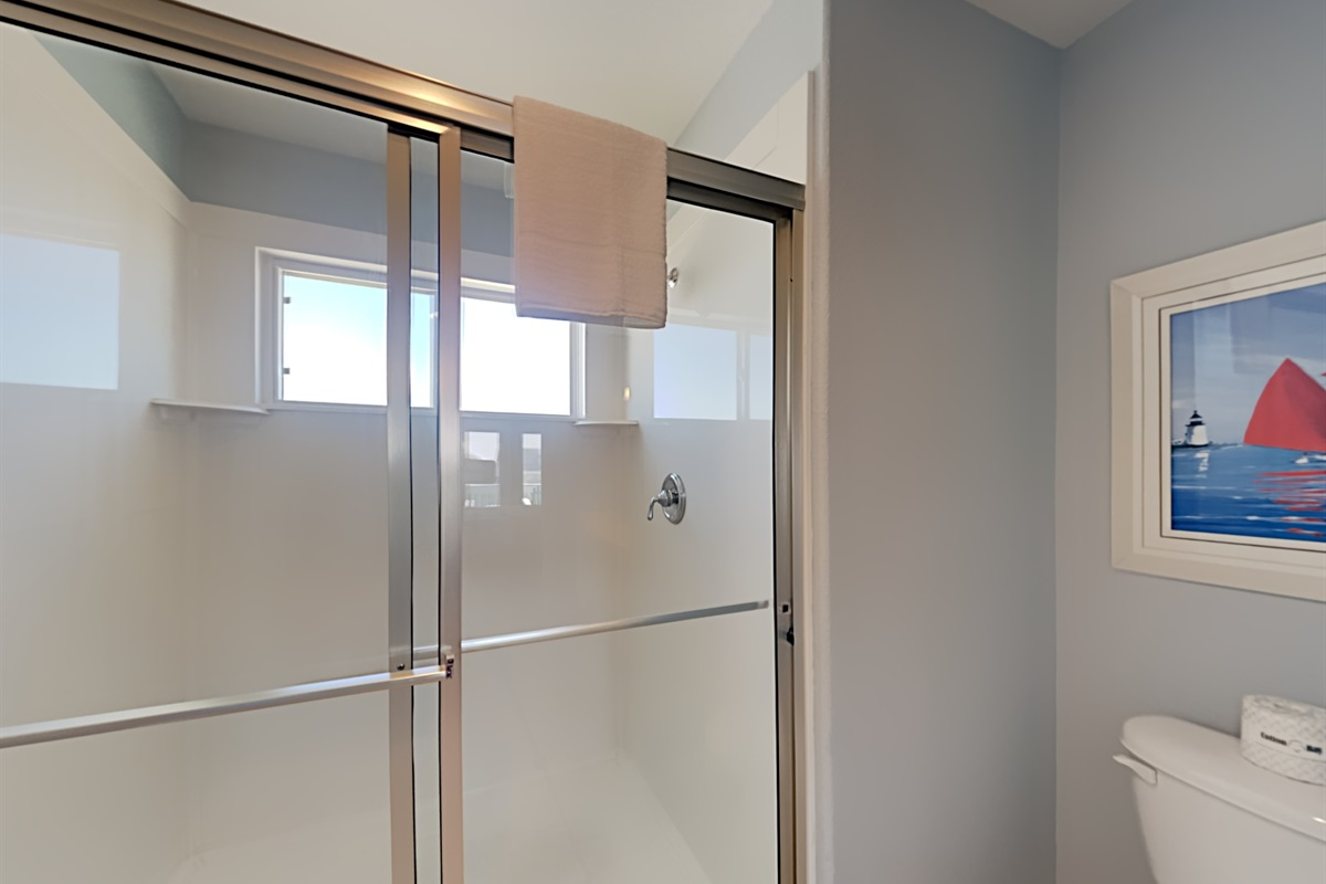 Primary bedroom bathroom with shower