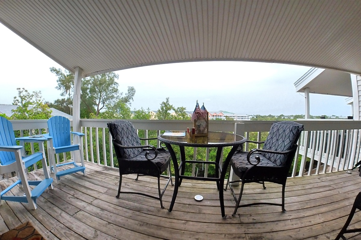 Covered Balcony Seating for Six