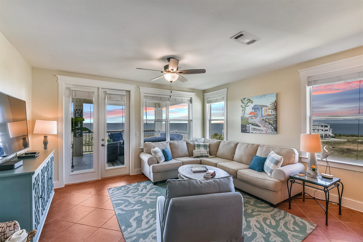 Living Room With Bay Sunsets