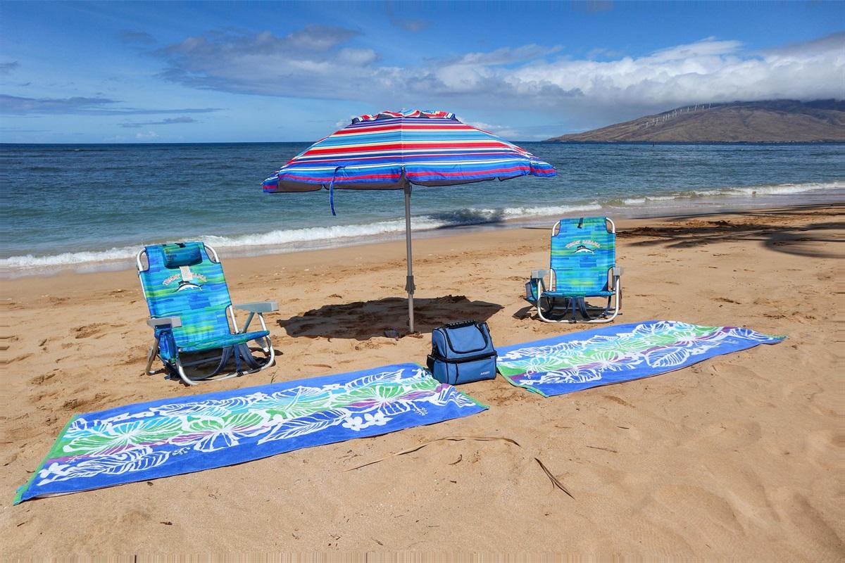 Beach gear included!