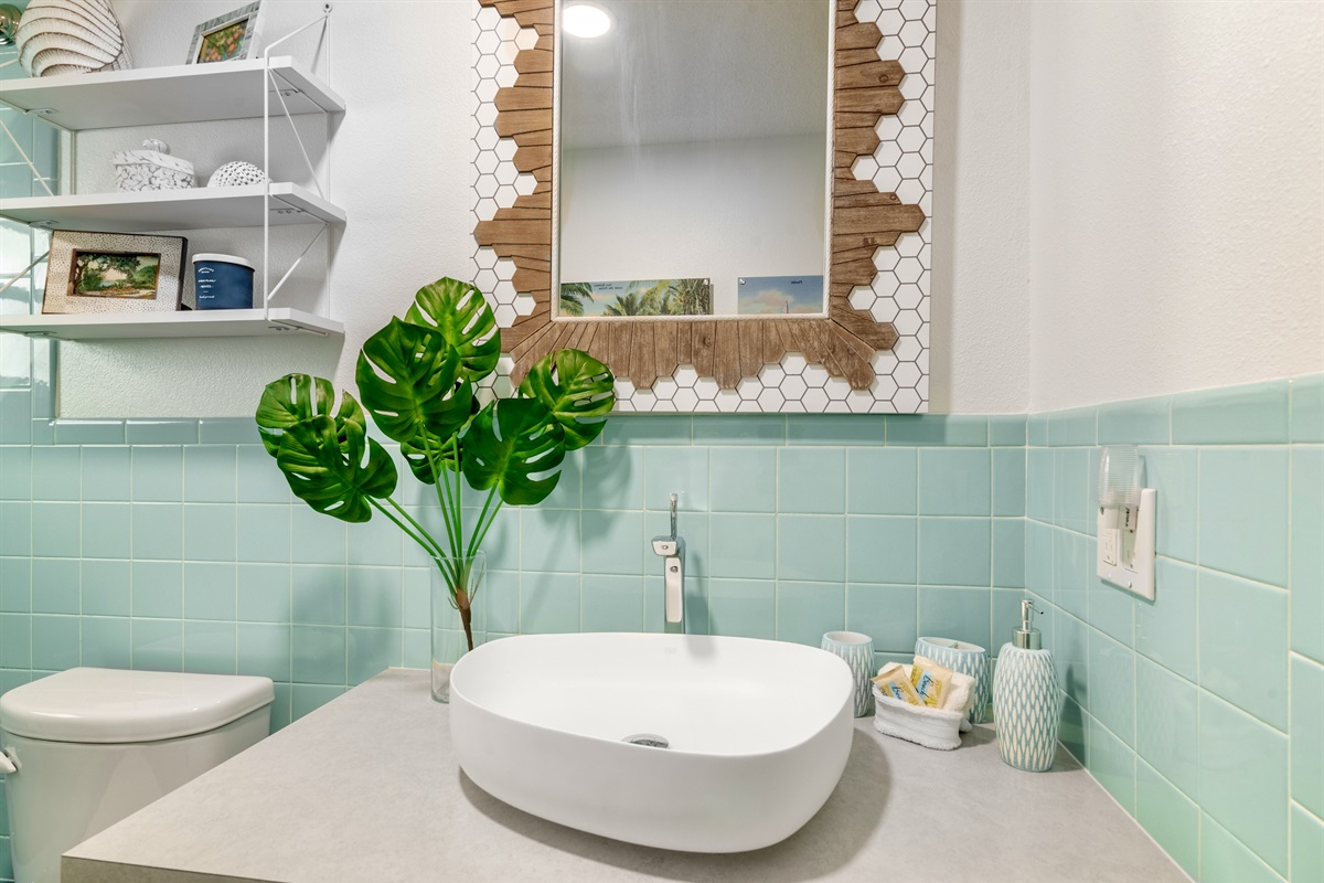 Modern fixtures and vessel sink