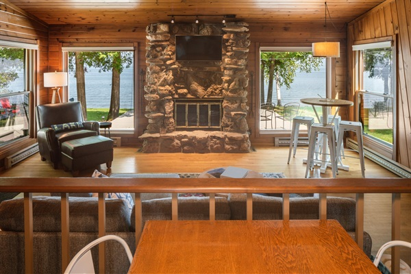 The wood burning fireplace made of Door County stone is perfect for cool Fall and Winter days!