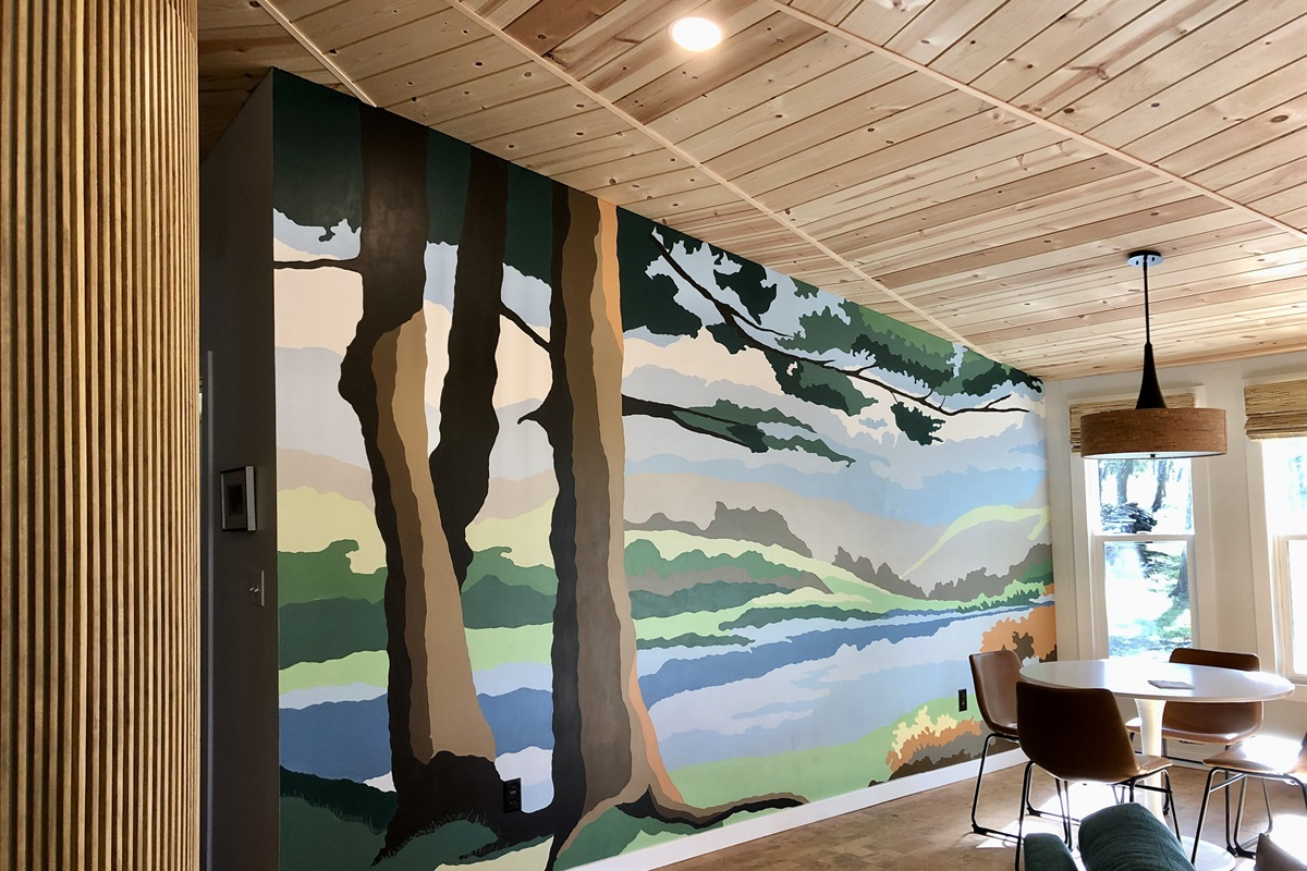 The paint-by-number mural mimics the view you'll see right outside the windows.