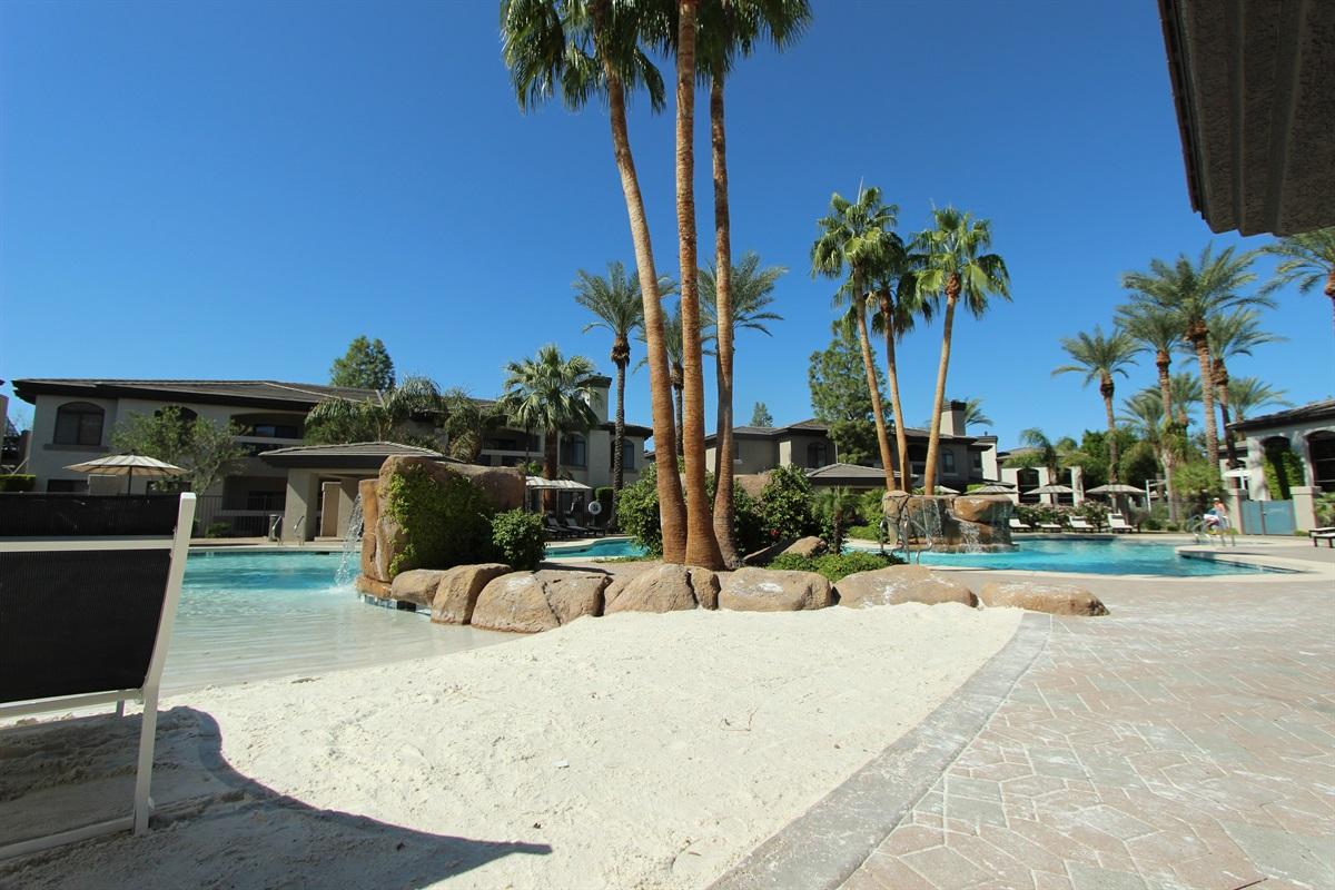 Sand entry pool.