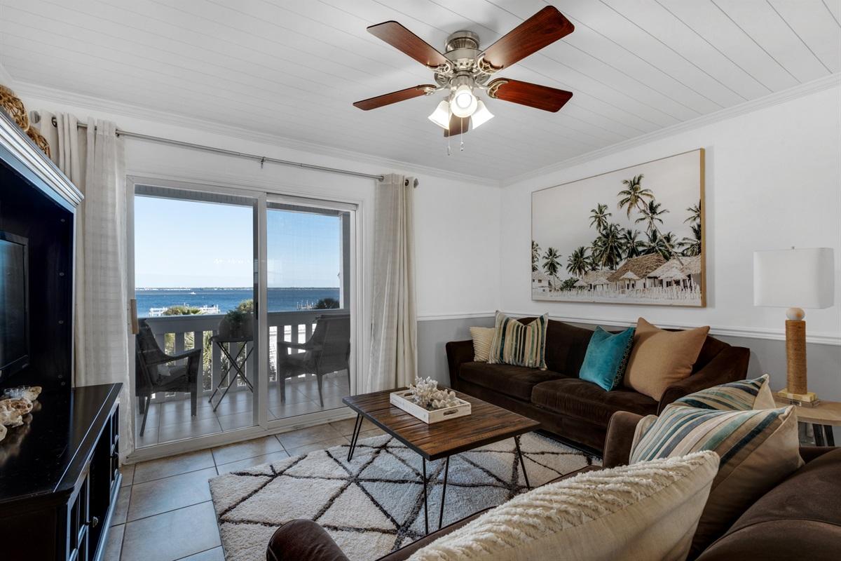 Open living area w/Bay views