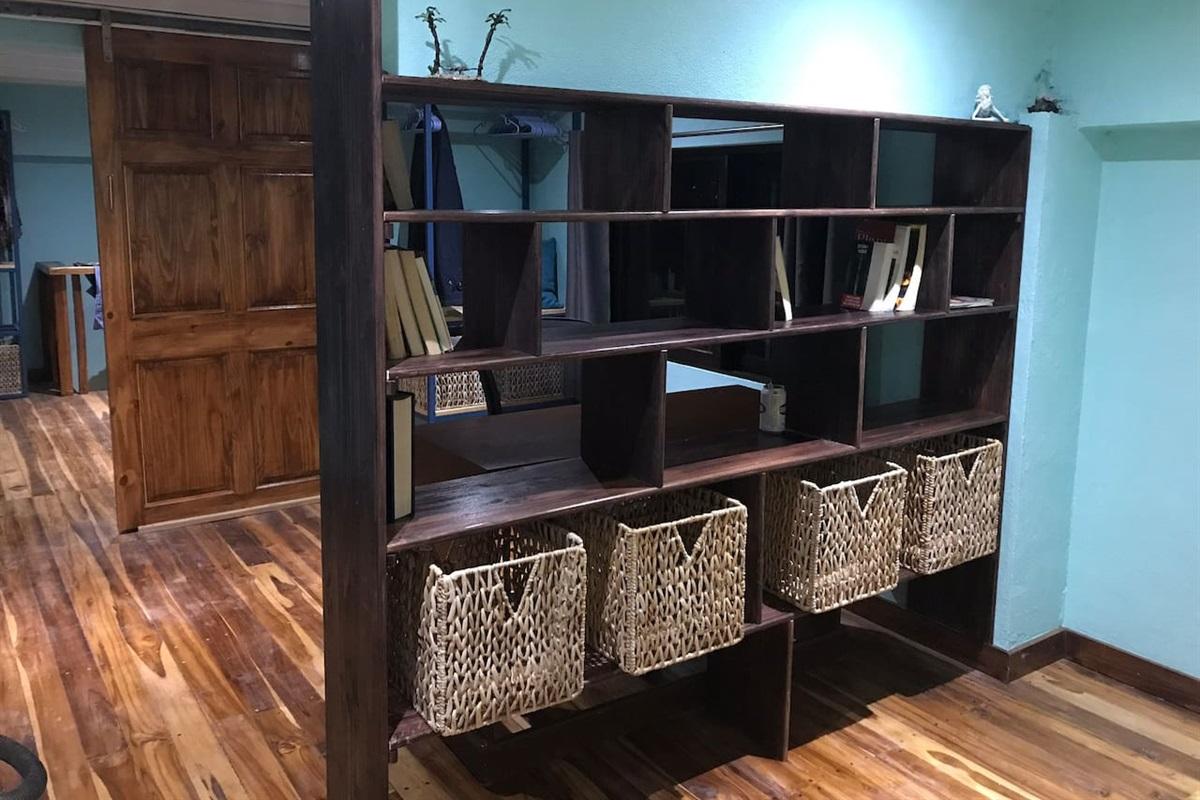 Storage and bookcase area