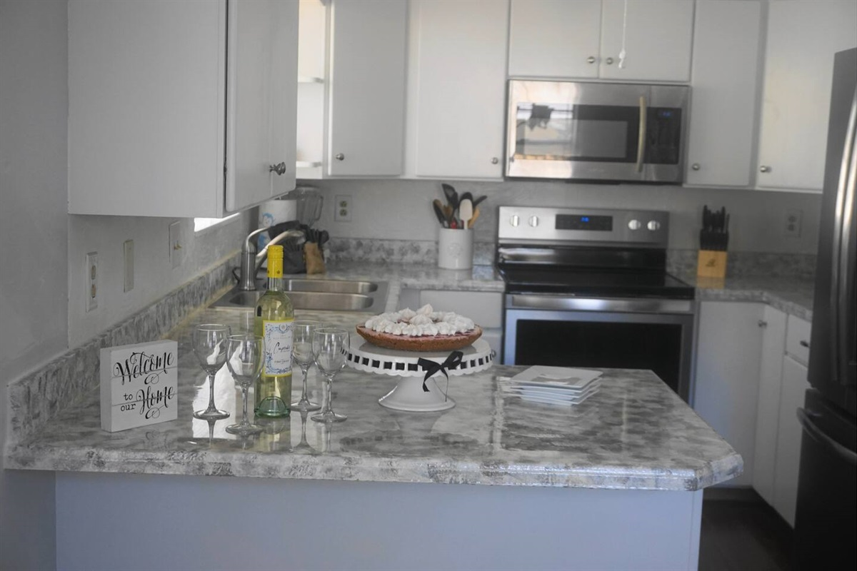 Beautiful new kitchen with stainless steel appliances