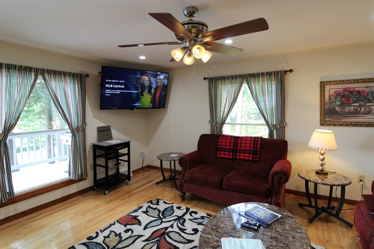 """60"""" or larger flat screen Roku TV in the living room.  Bring your favorite streaming apps for all your viewing pleasure"""
