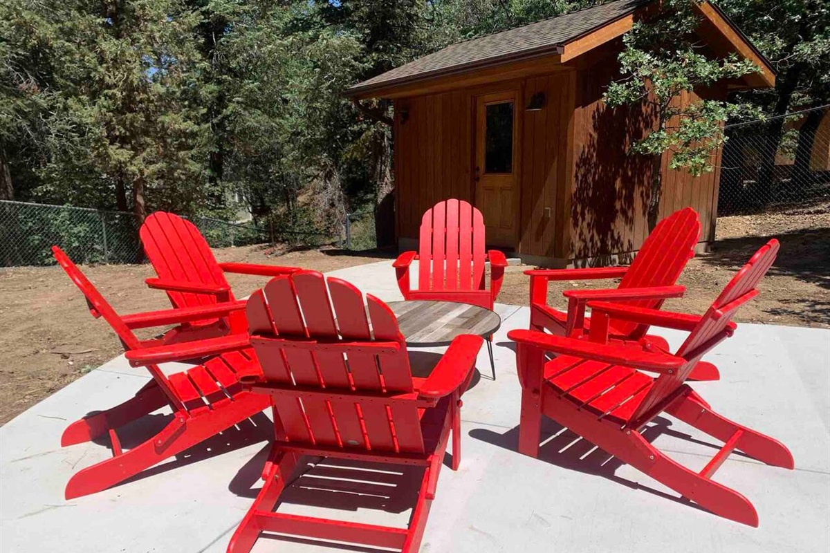Plenty of seating in the backyard to enjoy the outdoors.