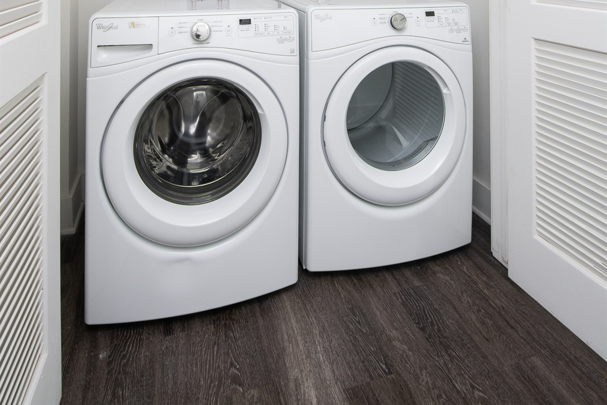 Washer and dryer with detergent provided