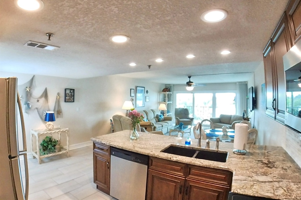 Kitchen & Living Space with Waterviews