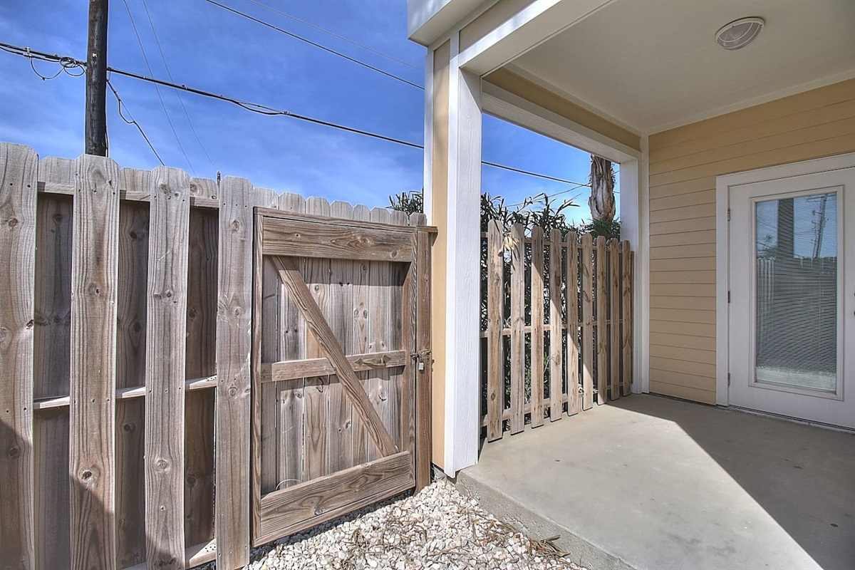Ground Level Patio with Gate Access - Great for Storing Gear.