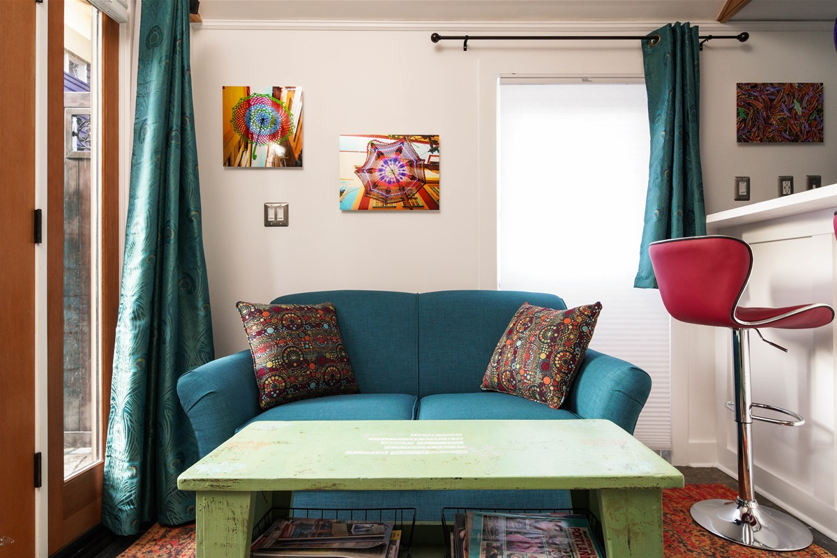 Loveseat in the Patio Cottage — sit and enjoy the patio view!