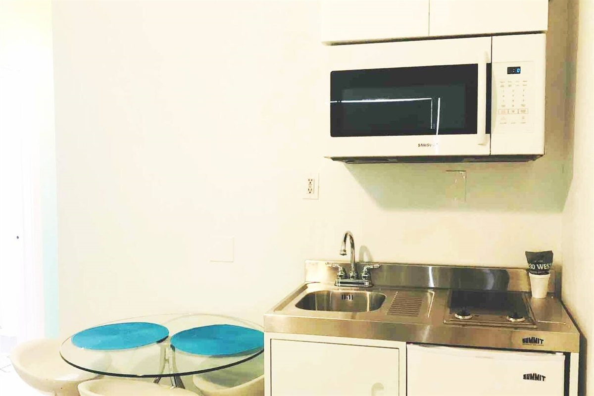 Fully loaded kitchenette: Electric stovetop, refrigerator, Samsung microwave.