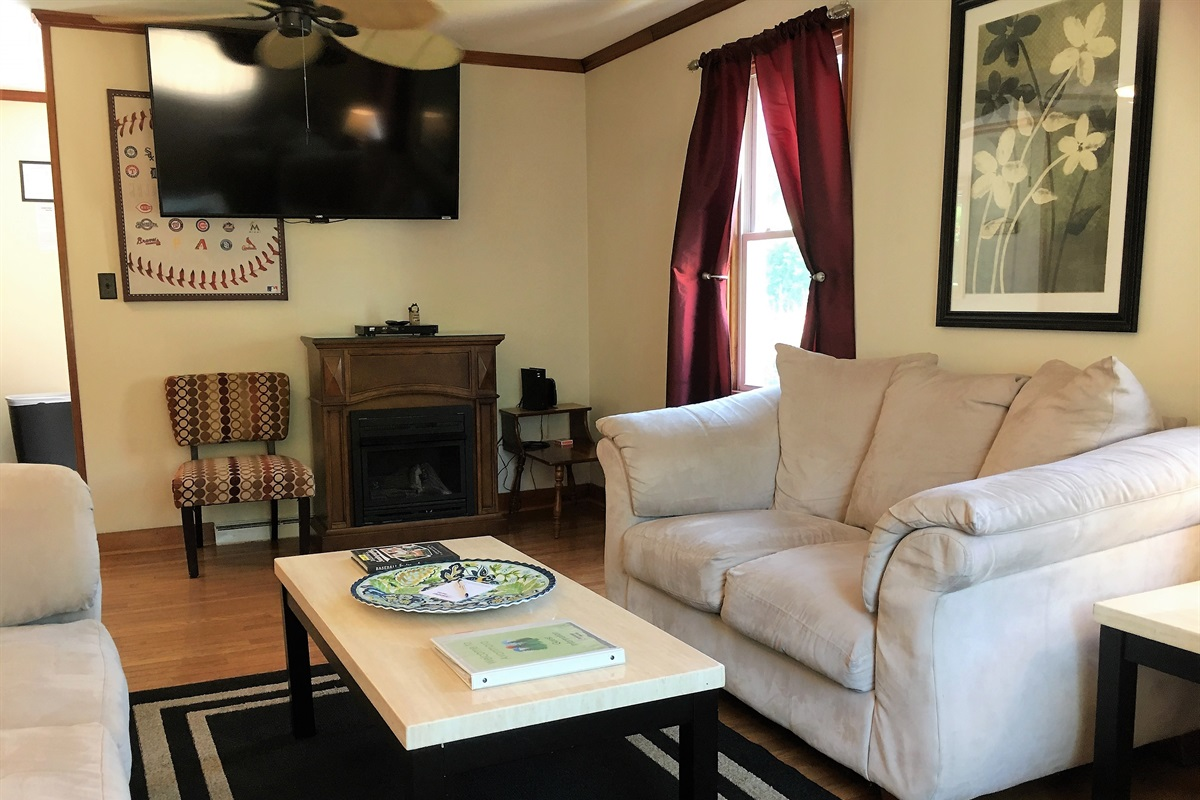 """Living Room with 55"""" (or larger) Roku Smart TV"""