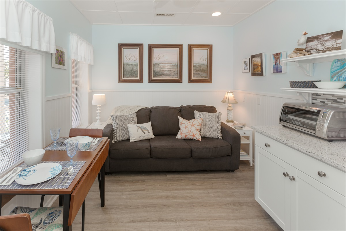 Queen sofa bed accommodates two additional guests