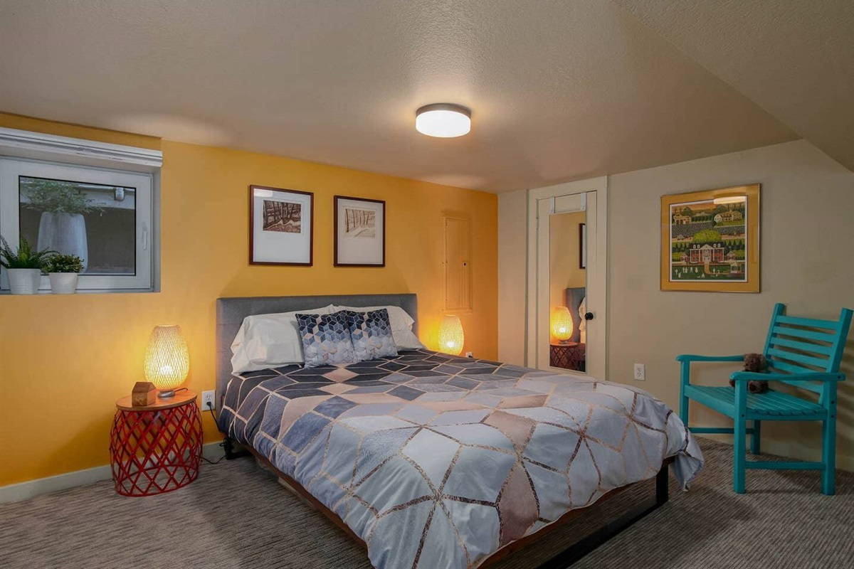 Bedroom #1. Larger of the two bedrooms. Quality sheets, meticulously cleaned, comfy queen bed.