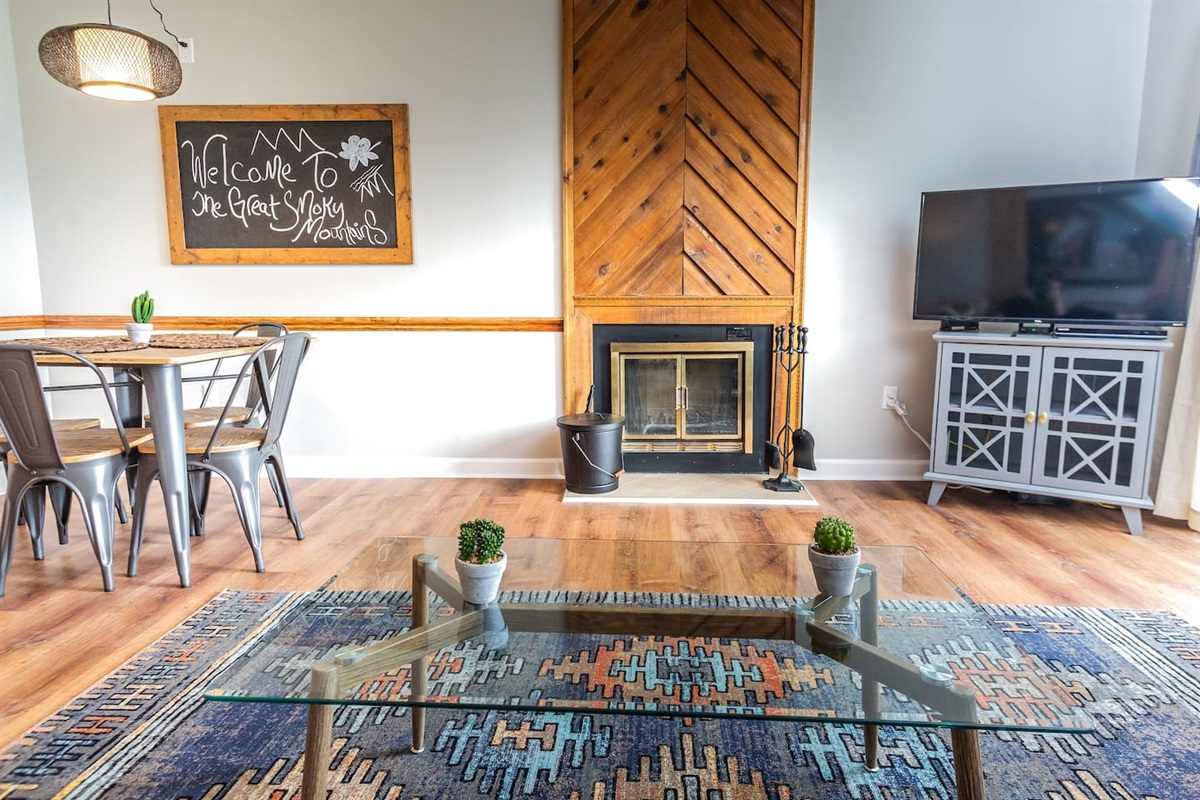 Living space + fireplace