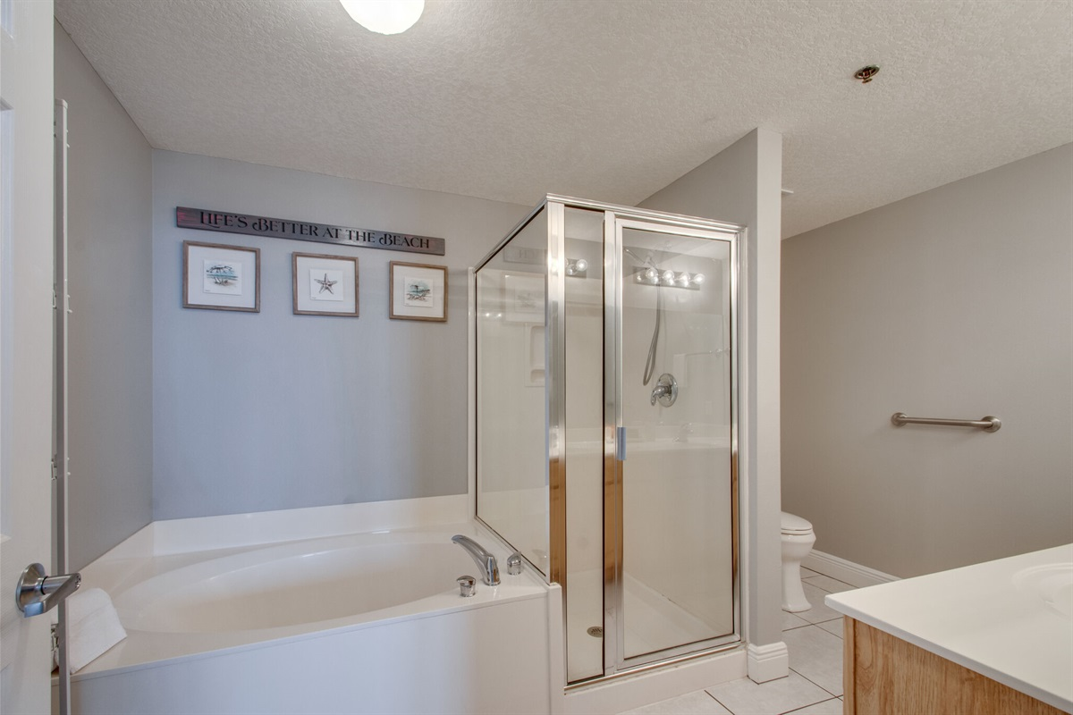 Master bathroom with walk-in shower and garden tub