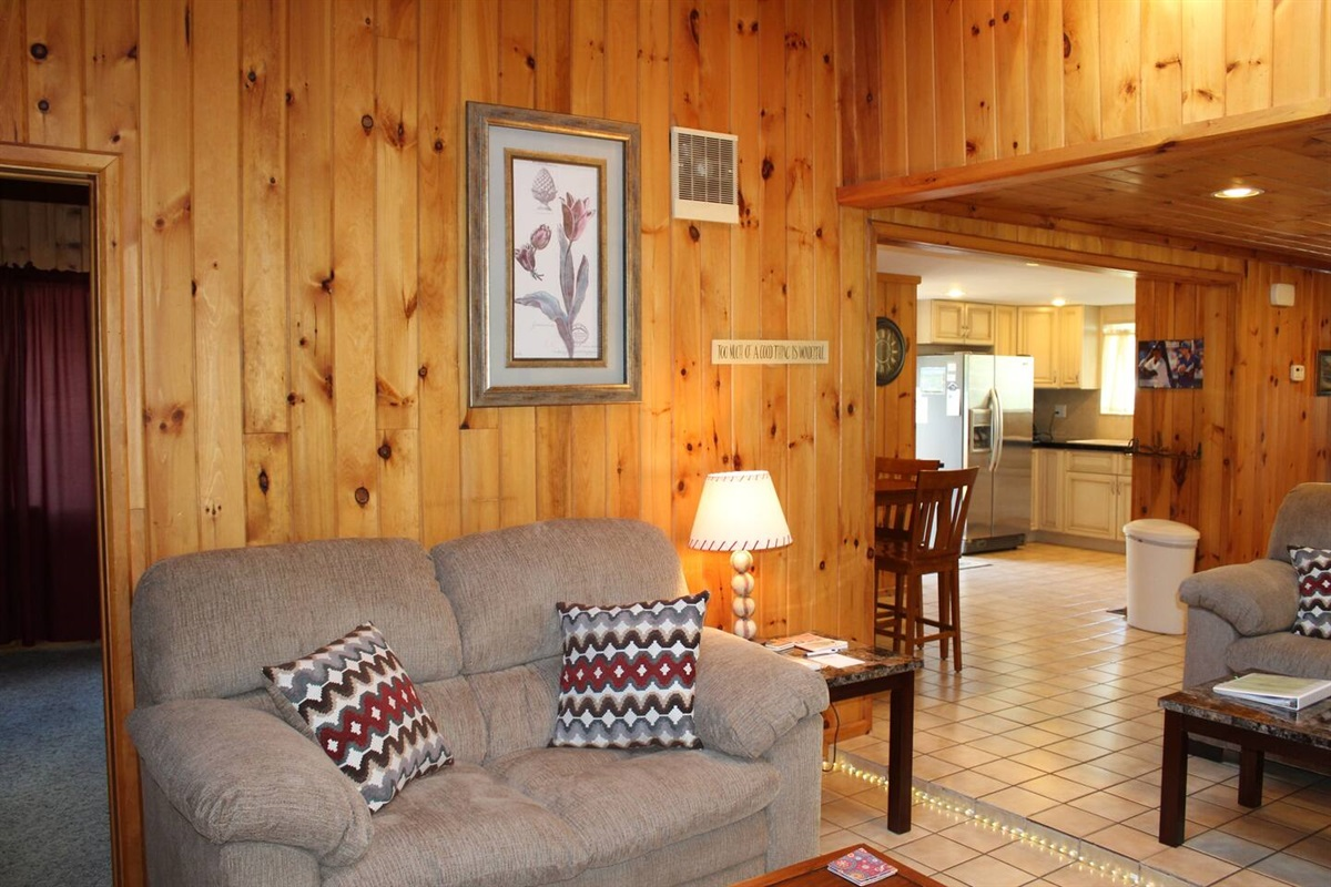 Beautiful wood paneling for a cozy cabin feel!
