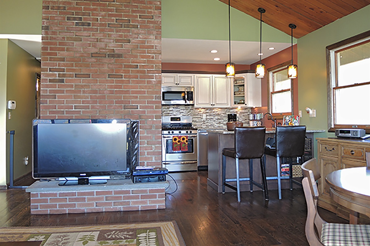 Open layout, living room, dining and kitchen