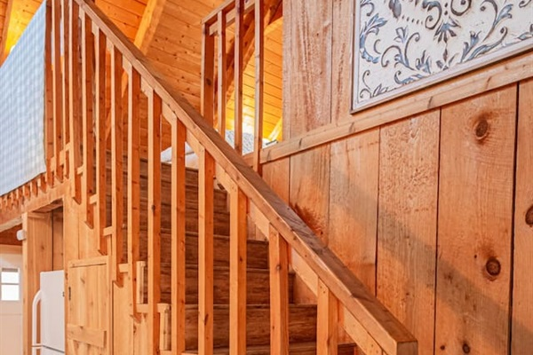 Take the stairs up to the bedroom