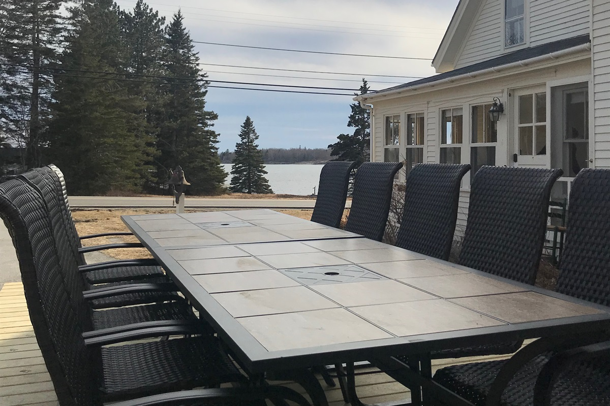 Outside dining for 12 overlooking beautiful Mosquito Cove