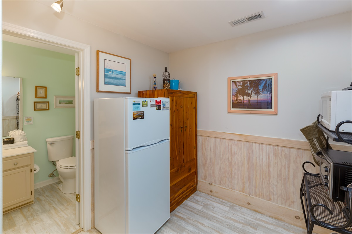 Studio kitchen with large fridge.  Wardrobe serves as a closet for hanging clothes.