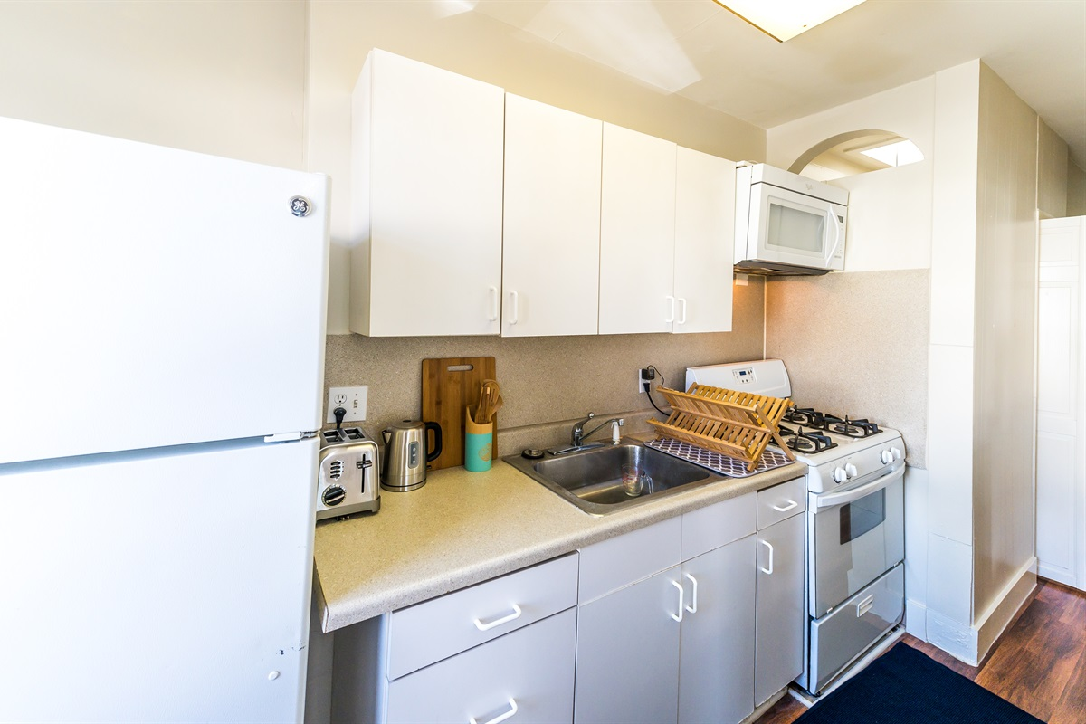 Fully outfitted kitchen with all the utensils you may need as well as the basic condiments and oils